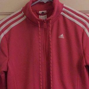 BARELY WORN! Pink zip up adidas hoodie
